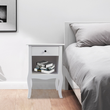【US Warehouse】European Bedside Table-One Pump White Free Drop Shipping USA