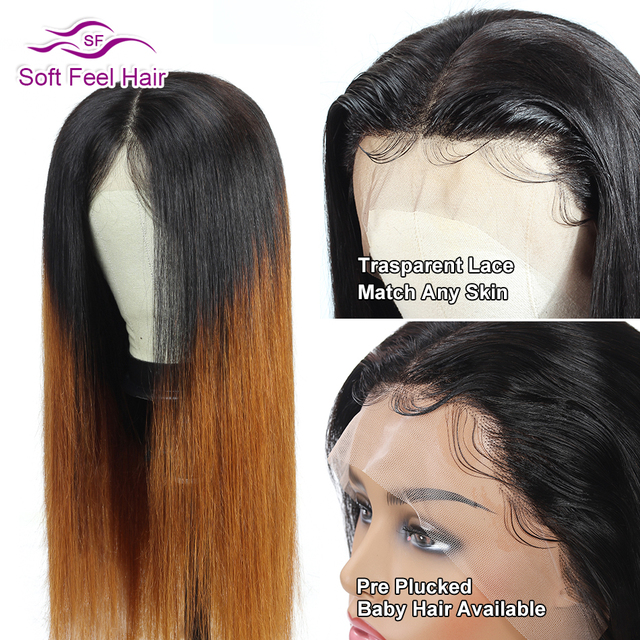 13×4 Lace Front Human Hair Wigs For Women Brazilian Straight Ombre Lace Front Wig Remy Transparent Lace Wigs 150% Soft Feel Hair
