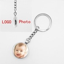2019Handmade Personalized Photo Family Double-sided Long Keychain Baby Dad Mother Brothers and Sisters Family Portrait Key Chain(China)