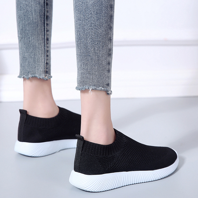 Lucyever Women Spring Autumn Sneaker Knitted Mesh Vulcanized Shoes Casual Slip on Flat Soft Walking Footwear Zapatos De Mujer