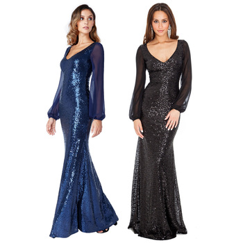 Female Elegant Mermaid Party Prom Dress Perspective Long Evening Party Gown Sexy Sequins Patchwork V-neck Vestidos De Festa