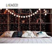 Laeacco Photo Backdrops Christmas Headboard Pillow Wooden Shelf Light Decor Bedroom Backgrounds Photocall Studio