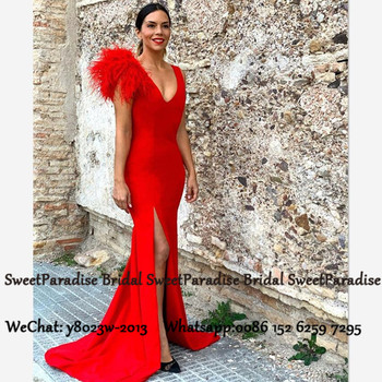 Red Mermaid Evening Dress With Feather 2020 Sexy Side Split Deep V Neck Robe De Soiree Long Sweep Train Prom Dresses Gown