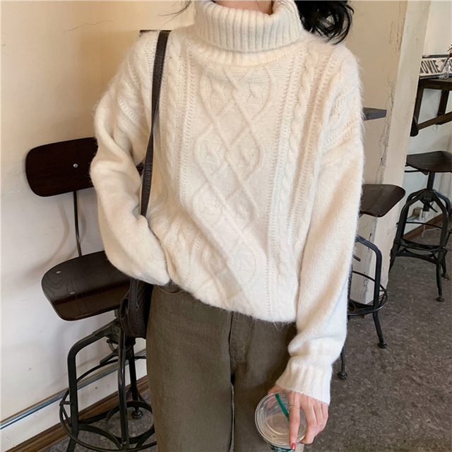 Ailegogo Women Turtleneck Knitted Pullovers Autumn Female Solid Color Loose Sweater Long Sleeve Knitwear Ladies Tops 4
