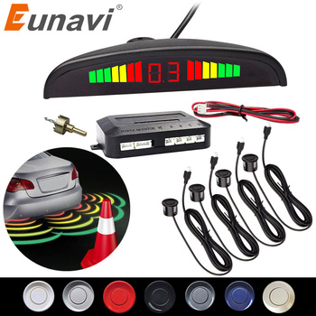 Eunavi 1set Auto Parktronic Led Parking Sensor Kit Display 4 Sensors For All Cars Reverse Assistance Backup Radar Monitor System - discount item  34% OFF Car Electronics