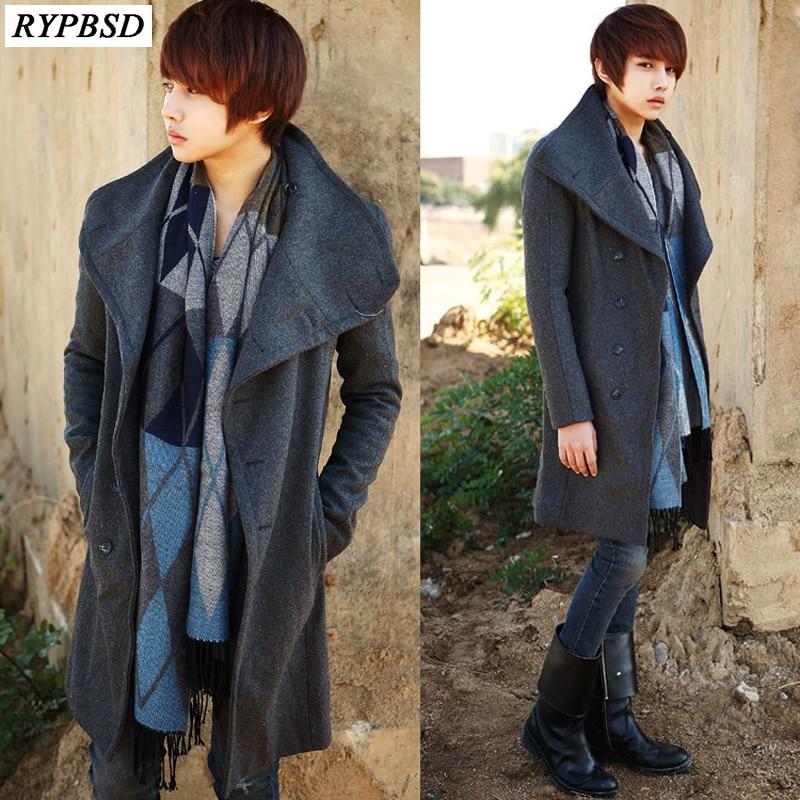 Long Wool Coat Men 2020 Korean Fashion Slim Fit Single Breasted Long Trench Coat Men Solid Color Warm Woolen Men Overcoat