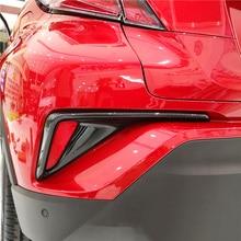 2 pièces transfert deau impression Fibre de carbone extérieur arrière antibrouillard lampe couverture garniture accessoires pour Toyota C HR CHR 2017 2018