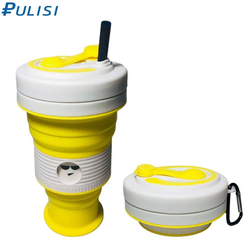 Collapsible Travel Cup Retractable Lightweight Mug 19 OZ Silicone Folding Camping Cup Sport Bottle with Straw Portable Bottle