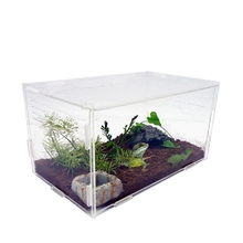Transparent Acrylic Reptile Box For Spiders Tortoise Sliding Lizard Box Insect Terrarium Insect Vents Breeding Small Pet Box