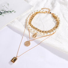 Punk Multi Layered Pearl Choker Necklace Collar Statement Virgin Mary Coin Crystal Pendant Necklace Women Jewelry(China)