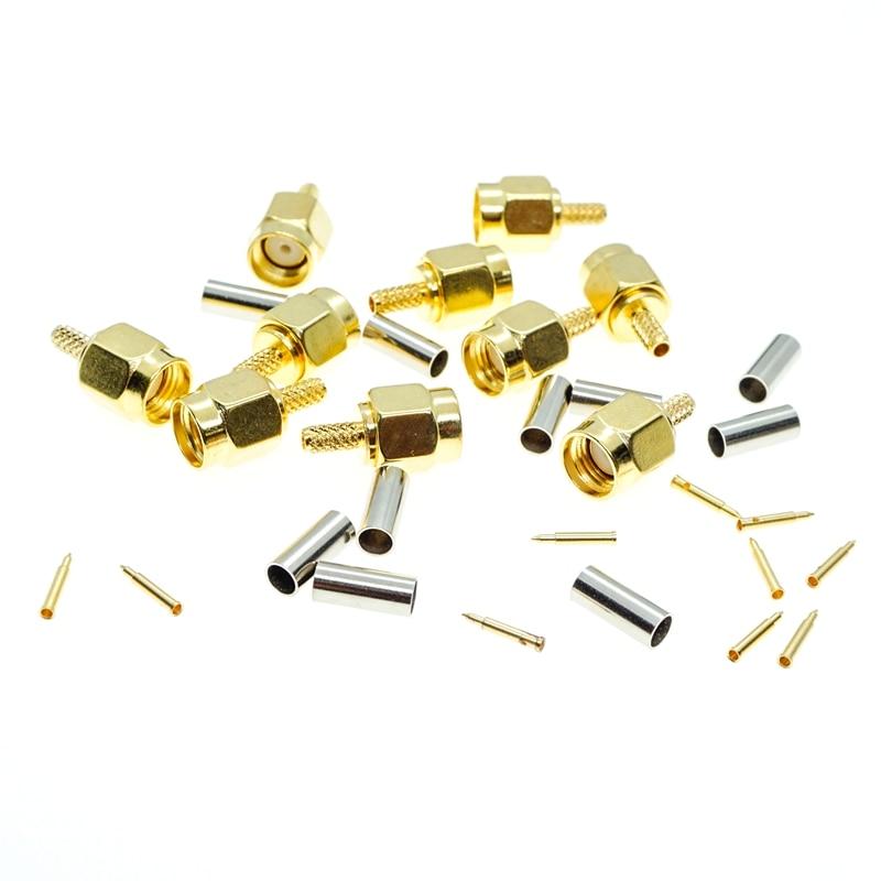 SMA штекер обжимной для кабеля RG174 RG316 LMR100, 10 шт.