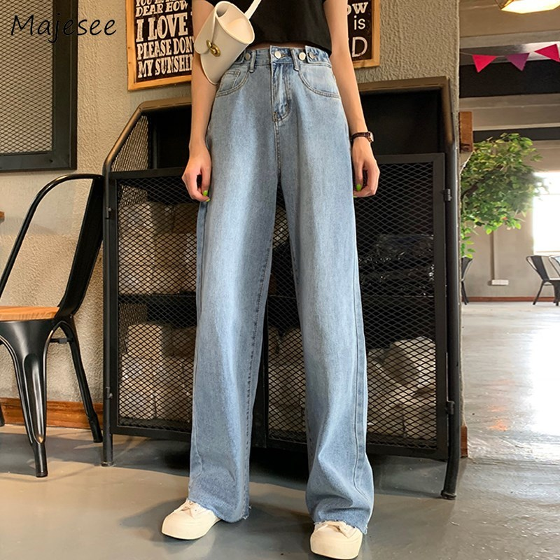 Jeans Women Long Straight Denim Solid Blue Trousers Vintage Elegant High Waist Buttons Womens All-match Korean Style Streetwear