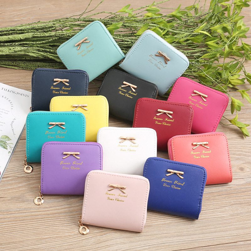 New Fashion Casual Ladies Wallet Simple Bow Zipper Short Purse PU Solid Color Women's Wallets Woman Bag Black