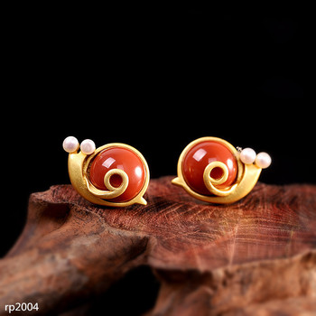 KJJEAXCMY boutique jewelry s925 sterling silver gold-plated southern agate red small snail earrings new female models