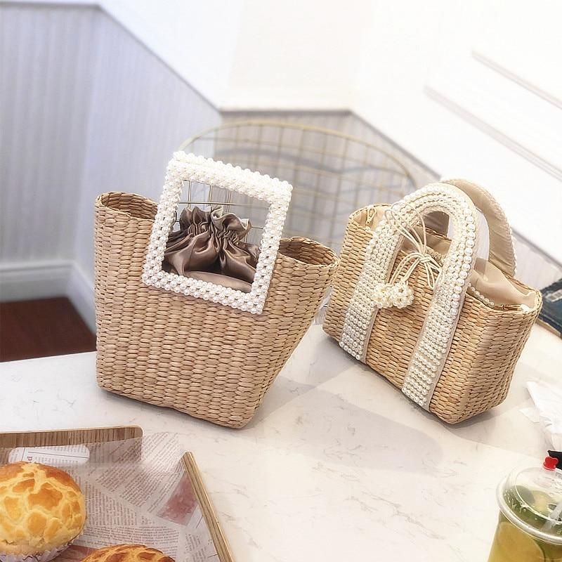 Woven Bag Straw-Bag Dual-Use-Bag Grass Pearl Bohemian Portable Summer Diagonal Travel