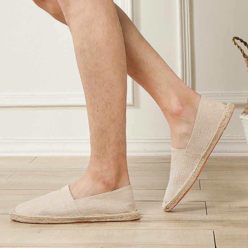 Unisex Size35-44 Leinen Leinwand Schuhe Männer Müßiggänger Sommer Atmungs Schwarz Schuhe Männer Turnschuhe Herren Slip Auf Schuhe Espadrille Homme