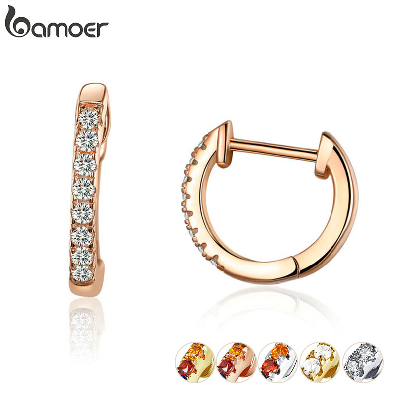 bamoer 6 Colors Sparkling Circle Earrings for Women Silver 925 Rose Gold Color Wedding Statement Jewelry Brincos SCE498-C(China)