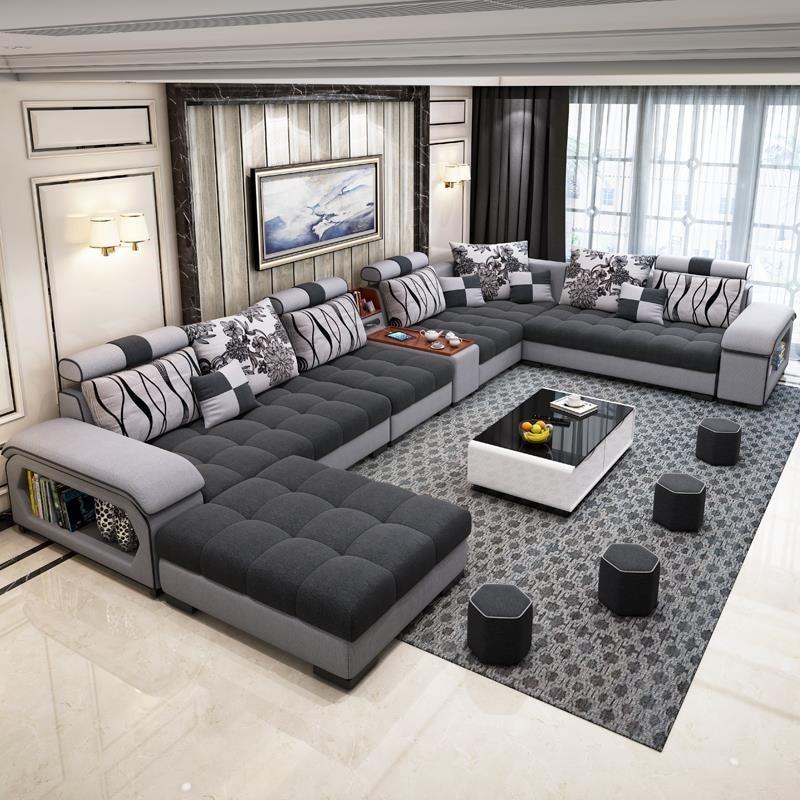 New Arrival Modern Design U Shaped Sectional 7 Seater Fabric Corner Sofa|Living Room Sets| - AliExpress