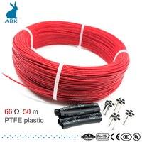 50 metros 66ohm 6k ptfe chama retardador de fibra de carbono cabo de aquecimento fio de aquecimento diy cabo de aquecimento especial para fontes de aquecimento|Fios elétricos| |  -