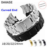 Watch Band Strap 18mm 20mm 22mm 24mm Wristband Stainless Steel Watch Strap Double Lock Buckle Curved End Wrist Belt w Pins
