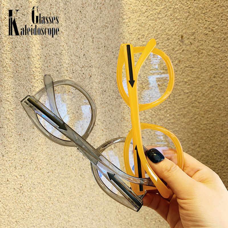 Óculos redondos do vintage moldura para as mulheres dos homens óculos de grandes dimensões grandes jelly clear lens óculos ópticos quadros