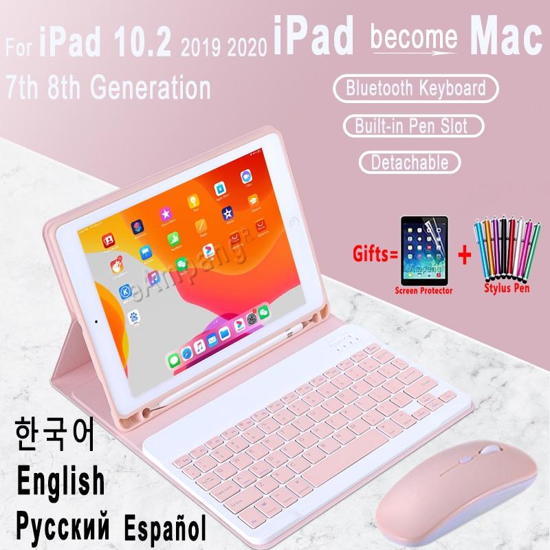 For iPad 10 2 Keyboard Case for Apple iPad 10 2 2019 2020 7 8 7th 8th Generation Mouse English Russian Korean Spanish Keyboard