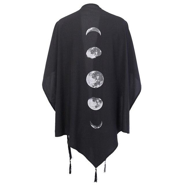 Cape à manches longues gothique pour femme, cape imprimée motif lune croissant, col en v, ample, manches chauve-souris longues
