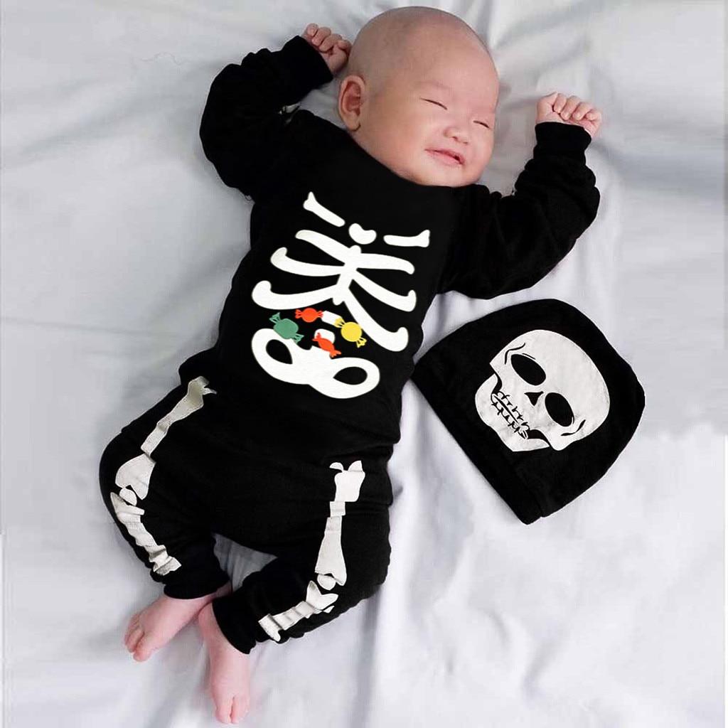 Romper   Baby Newborn Baby Boys Girls Halloween Bone Print Long Sleeve   Romper   Jumpsuit+Hat Set Outfits Roupas Winter Clothing 2019