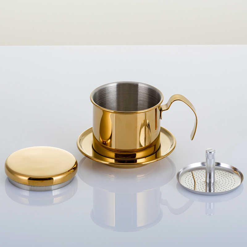 Filtro de café de aço inoxidável reutilizável filtro de café portátil filtro de café gotejamento pote dripper copo de filtro de café para escritório em casa