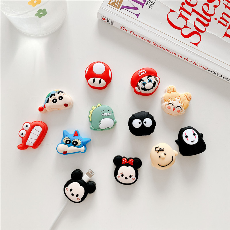Cable Bite Protector For Iphone Cable Winder Phone Holder Accessory Cable Biters Squishy Model Cartoon Mickey Minnie Sailor Moon
