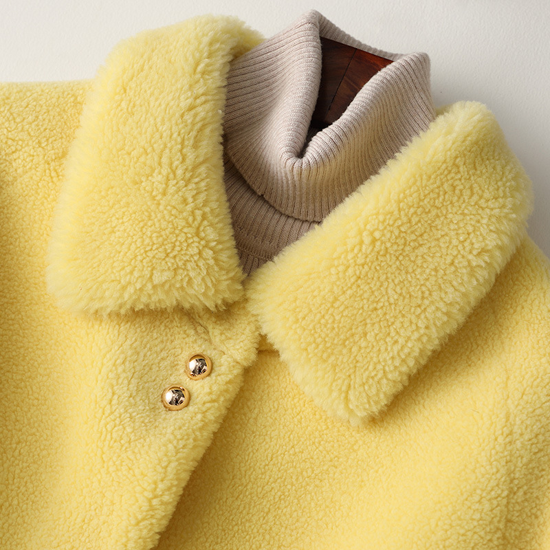 Wool Fur Coat Women Long Yellow Wool Coat Winter High Quality Real Fur Outwear Turn Down Collar Thick Warm Solid Large Coat