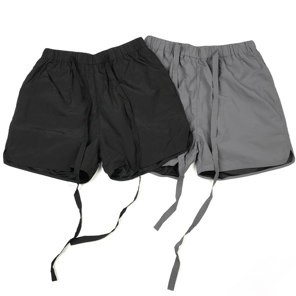 Hip Hop Relaxed Fit Belted Track Shorts In Black/Grey Summer Lightweight Elastic Waist Four-pocket Styling Kanye Streetwear