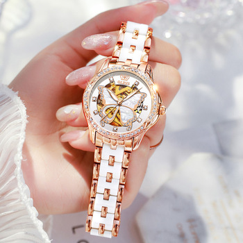 OLEVS  Mechanical Women Watch Fashion Switzerland Luxury Brand Ladies WristWatch Automatic Ceramic Hollow Design montre femme 1