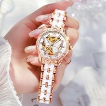 Olevs Mechanische Vrouwen Horloge Mode Zwitserland Luxe Merk Dames Horloge Automatische Keramische Holle Ontwerp Montre Femme
