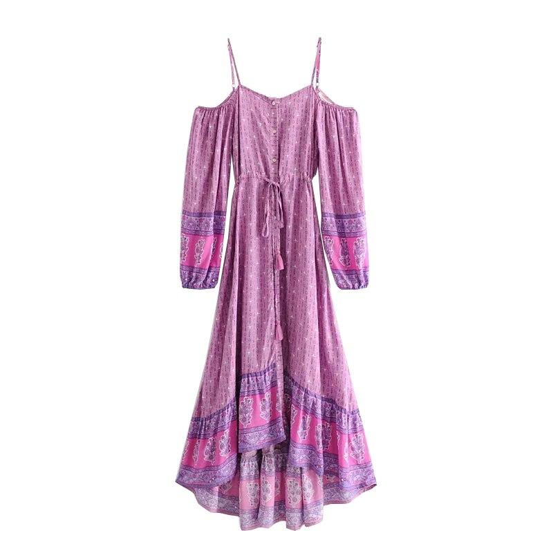 Boho Chic femmes 2019 mode bretelles dos nu Spaghetti sangle robes de plage été Vintage imprimé irrégulière robe mi-longue Vestidos