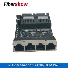 Ethernetเส้นใยสวิทช์ 4 RJ45 2 SC Optical Media Converterเส้นใยโหมดเดี่ยวพอร์ตPCB 10/100M 10 ชิ้นใหม่