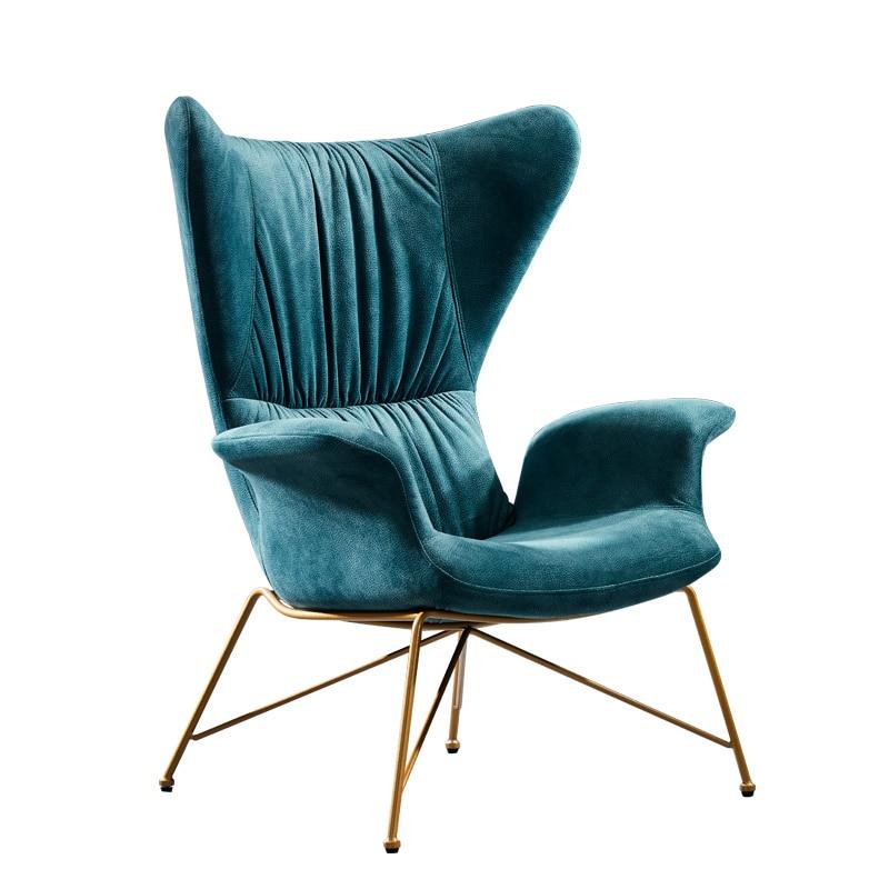 Light Luxury Single Sofa Chair Nordic Living Room Iron Living Room Bedroom Fabric High Back Single Chair Creative Leisure Chair