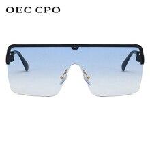 OEC CPO Men Sunglasses Oversize One Piece Goggles Women Flat Top Square