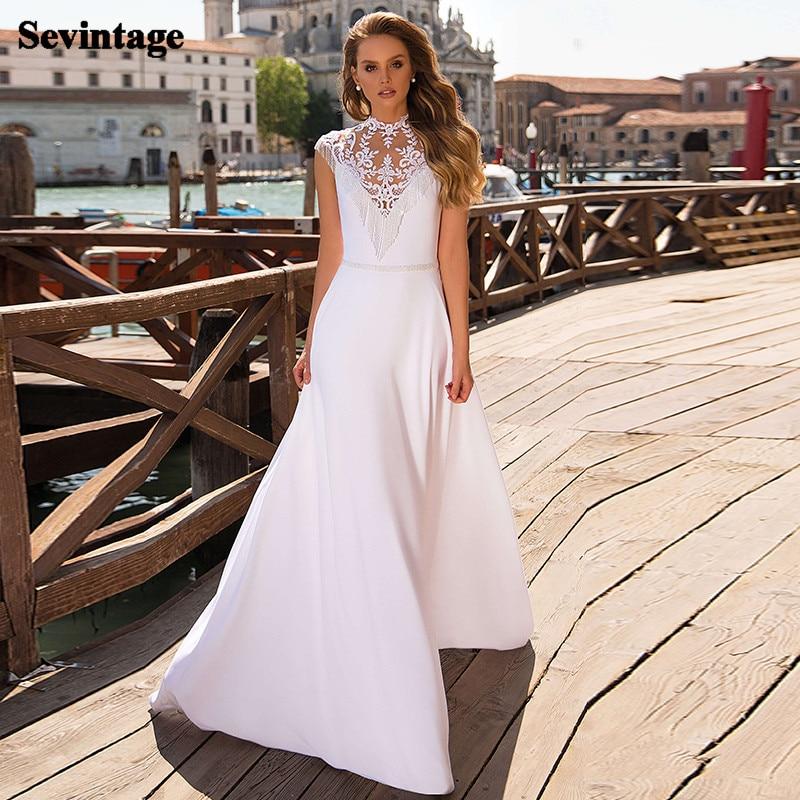 Sevintage Beach Lace Wedding Dresses Boho Soft Satin Appliques Wedding Gowns Beading Plus Size Princess Bride Dress Party Gown