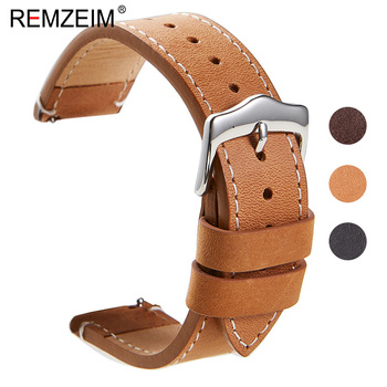 REMZEIM Oil wax skin 22mm 20mm Leather Watchbands For Samsung Galaxy Watch 46mm 42mm Active 2 40mm 44mm Band Gear S3 S2 Strap - discount item  80% OFF Watches Accessories