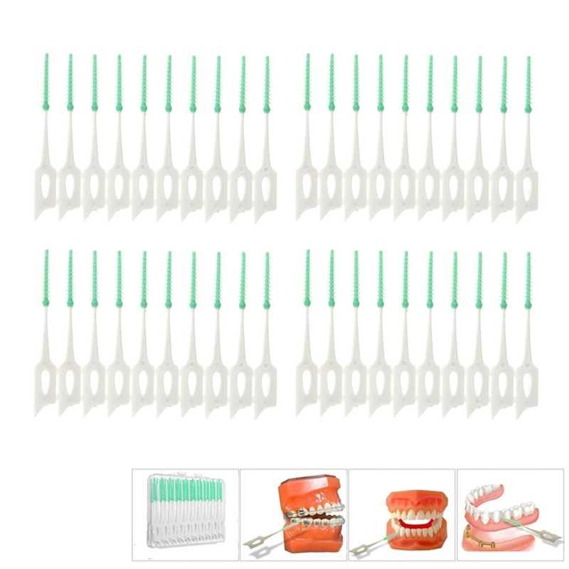 Baru 40 PCS Lembut Bersih Antara Interdental Floss Sikat Gigi Oral Perawatan Alat X7YB