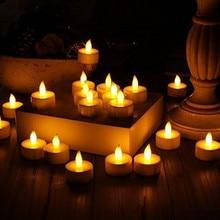 24 шт. светодиодный светильник для чая, свечи, реалистичные, на батарейках, беспламенные Свечи для церковных, вечерние, свадебных канделей, декорация для дома# T2