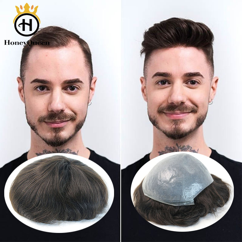 Hair Toupee Ultra Thin Men Toupee Poly Thin Skin Mens 100% European Remy Hair Replacement System PU Hairpiece Honey Queen
