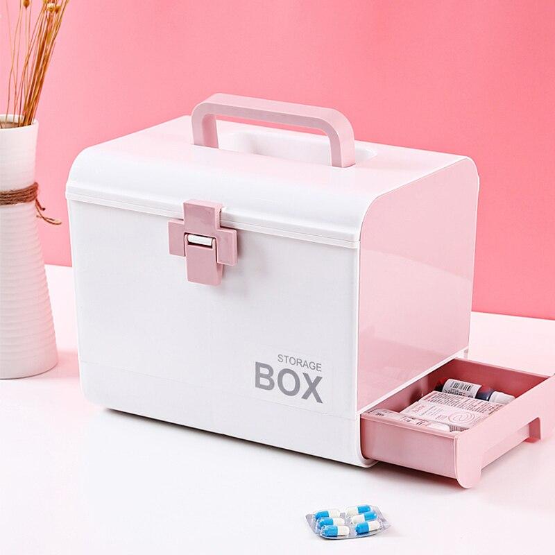 Kit de primeiros socorros portátil, caixa de armazenamento de medicamentos, organizador, kit de primeiros socorros em pp casa casa