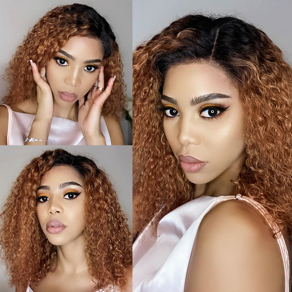 Goldenwigs ombre color water curly Remy 1B/27 bob wig lace front human hair wigs highlight deep wave colored brown Frontal wigGoldenwigs ombre color water curly Remy 1B/27 bob wig lace front human hair wigs