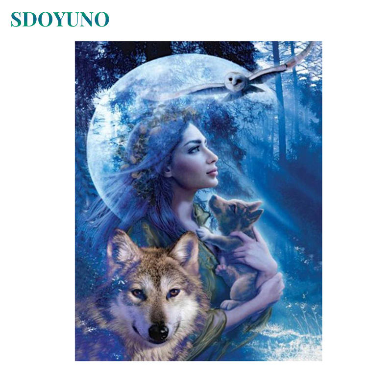 SDOYUNO Painting By Numbers Wolf And Women Framless DIY Pictures By Numbers Canvas Digital Painting Kits Wall Art
