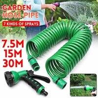 Mangueira de água flexível mágica do jardim da bobina retrátil de 7.5 m/15 m/30 m para mangueiras plásticas da tubulação da mangueira do carro que rega o jardim com armas de pulverizador