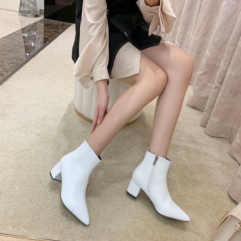 Женская обувь; сезон весна осень; женская обувь; Новинка 2019 года; Летняя обувь Martin; белые туфли на высоком толстом каблуке.|Полусапожки|   | АлиЭкспресс - Женская обувь