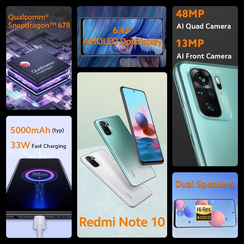 Xiaomi Redmi Note 10 Global Version Smartphone 4GB 64/128GB  Snapdragon 678 6.43'' AMOLED Display 48MP Quad Camera 5000mAh 33W 2