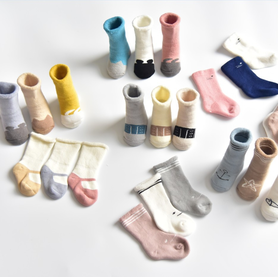 New Style Winter Style Looped Pile Children Tube Socks Baby Stockings Newborns Cotton Thick Towel Socks Relent Socks